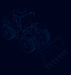 Contour of the bulldozer isometric view blue vector