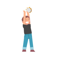 cute boy playing tambourine kid learning to play vector image