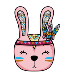 Cute rabbit head animal with feathers vector