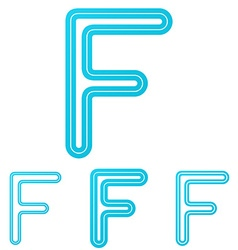 Cyan line f logo design set vector