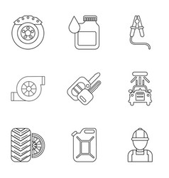 darn icons set outline style vector image