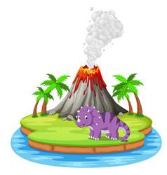 Dinosaur and volcano eruption vector