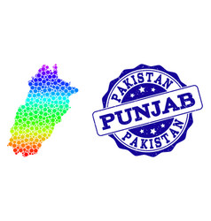 Dotted rainbow map of punjab province and grunge vector