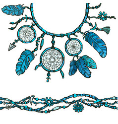 Dream catcher and seamless border made from beads vector