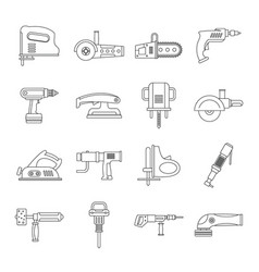 Electric tools icons set outline style vector