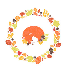Fox sleeping inside circular frame or wreath made vector