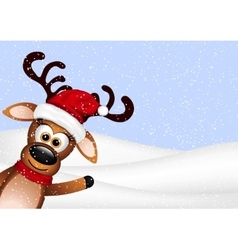 Funny Reindeer on winter background vector image