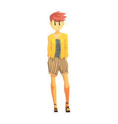 Girl in stripy shorts and yellow jacket with short vector