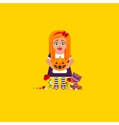 Girl is holding a pumpkin for halloween in a flat vector