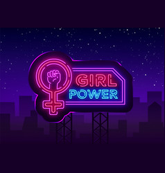 Girls power neon sign fashionable slogan feminist vector