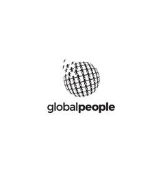 global people digital logo design concept vector image