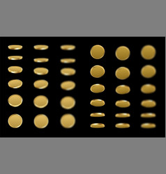 gold revolving coins isolated on black vector image