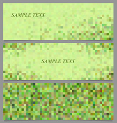 Green pixel square mosaic banner template set vector