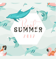 Hand drawn abstract cute summer time card vector