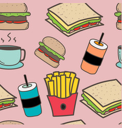 hand drawn fast food and burgers pattern vector image