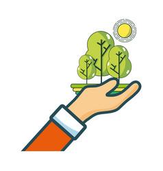 hand holding trees cartoon vector image