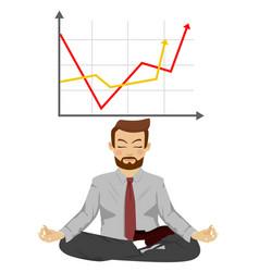 happy businessman meditates in lotus pose vector image