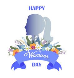 happy womans day bouquet of flowers and ribbon vector image