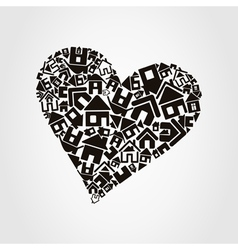 heart made of houses vector image