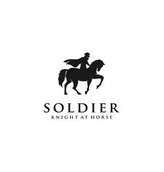 horseback knight silhouette logo horse warrior vector image