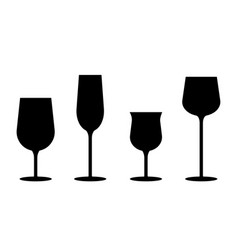 icon silhouette black wine glass for party vector image