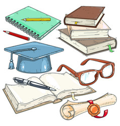 icons colored for students student cap vector image