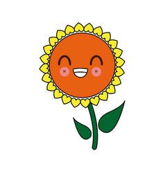 Kawaii sunflower decorative cartoon design vector