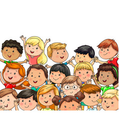 Large company joyful children different vector