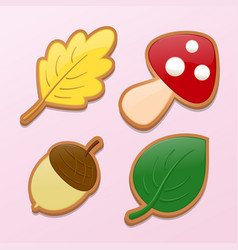 Leaf mushroom acorn in the form of cookies on the vector