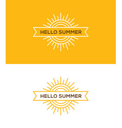 Linear sun logo emblem or label design vector