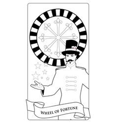 Major arcana tarot cards the wheel of fortune vector