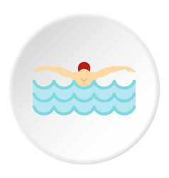 Man in red cap in swimming pool icon circle vector