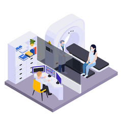 Medical testing isometric composition vector