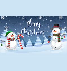 Merry christmas snowman card vector