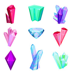 Mineral crystalic precious stones set colorful vector