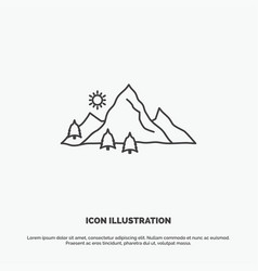 mountain landscape hill nature tree icon line vector image