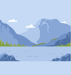 mountain landscape with pond summer time nature vector image