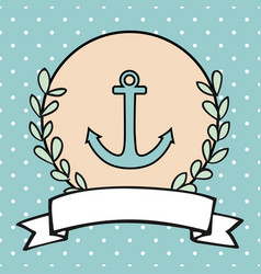 nautical card or sailor invitation with anchor vector image