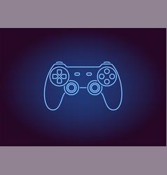 neon icon of blue joystick vector image