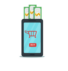 Online shopping consumerism business concept flat vector