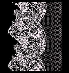 paisley - seamless black and white border vector image