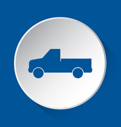 Pickup with a flatbed - blue icon on white button vector