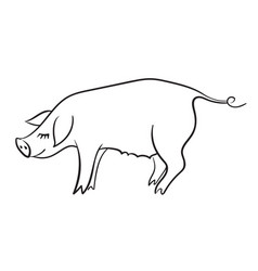 pig template for greeting card black and white vector image