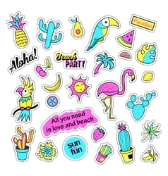 Pop art set with fashion patch badges and vector