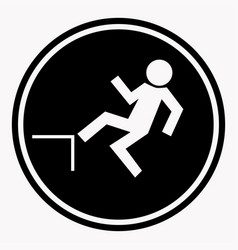 Risk of falling from height of human danger sign vector