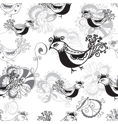 Seamless pattern with birds black and white vector image