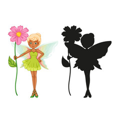 set fairy characters and its silhouette on vector image