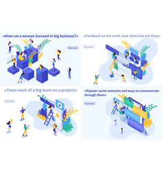 Set isometric success in business feedback project vector