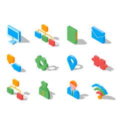 Set of business 3d icons vector