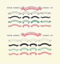 set of hand drawn ribbons doodles collection vector image